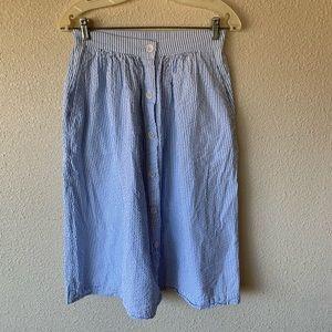 Sky Blue Stripe Seersucker Button Up Maxi Skirt